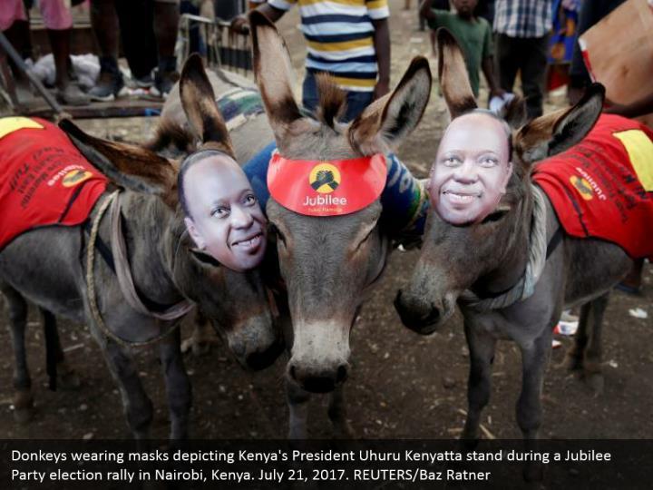 Donkeys wearing masks depicting Kenya's President Uhuru Kenyatta stand during a Jubilee Party election rally in Nairobi, Kenya. July 21, 2017. REUTERS/Baz Ratner