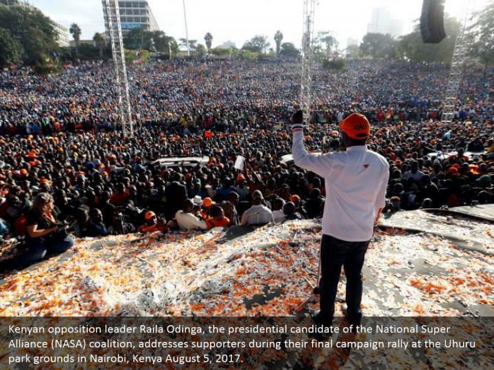 Kenyan opposition leader Raila Odinga, the presidential candidate of the National Super Alliance (NASA) coalition, addresses supporters during their final campaign rally at the Uhuru park grounds in Nairobi, Kenya August 5, 2017.