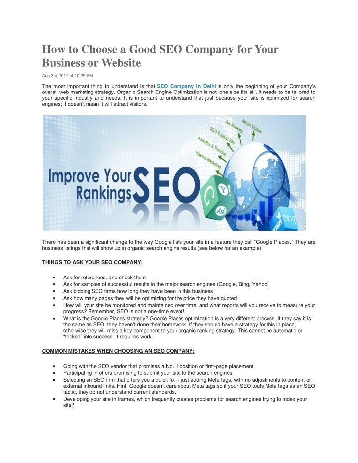 PPT - How to Choose a Good SEO Company for Your Business or
