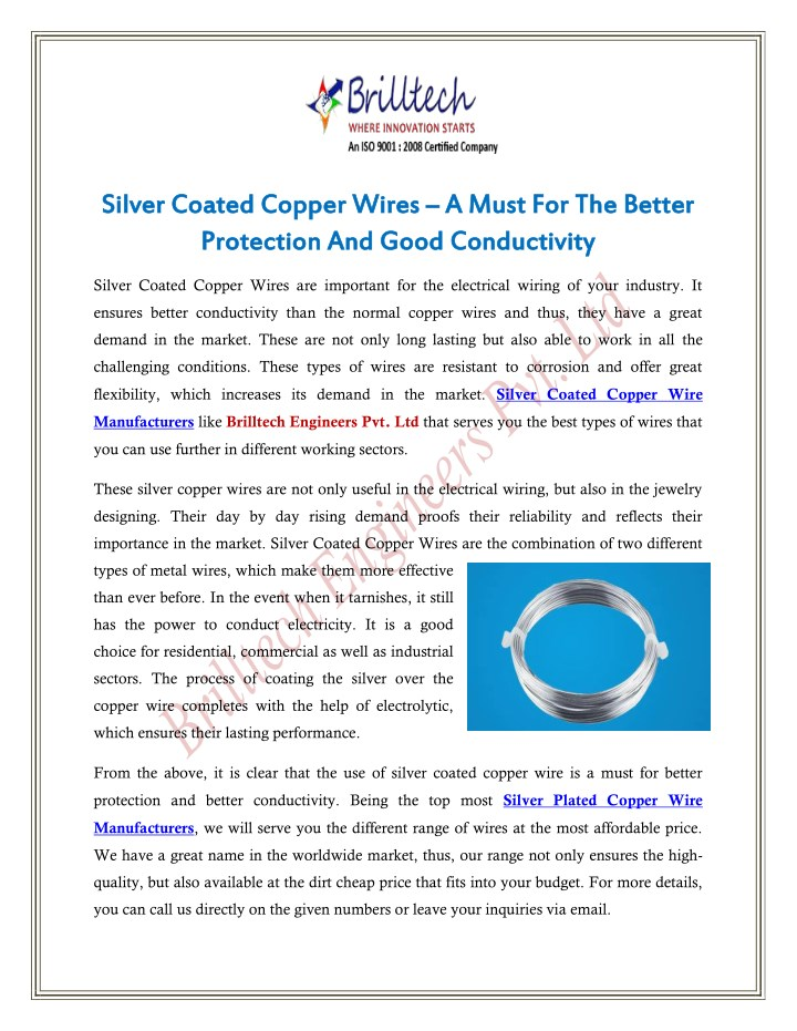 PPT - Silver Coated Copper Wires – A Must For The Better Protection ...