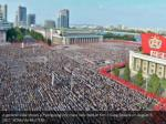 a general view shows a pyongyang city mass rally