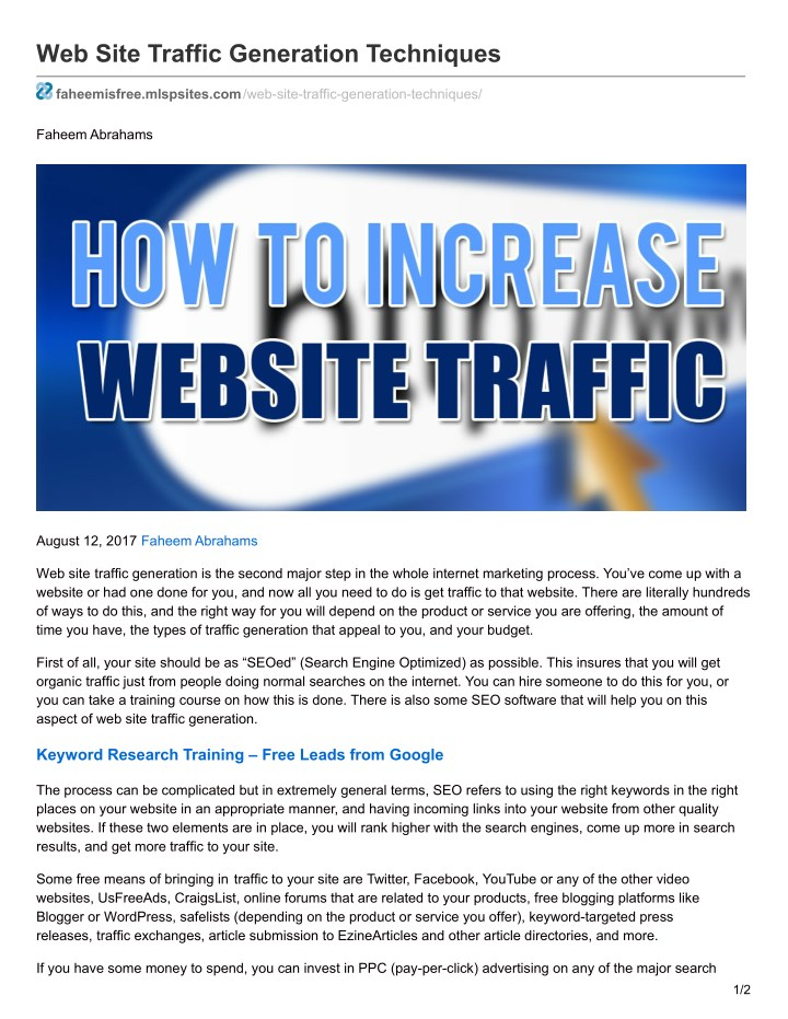web site traffic generation techniques n.