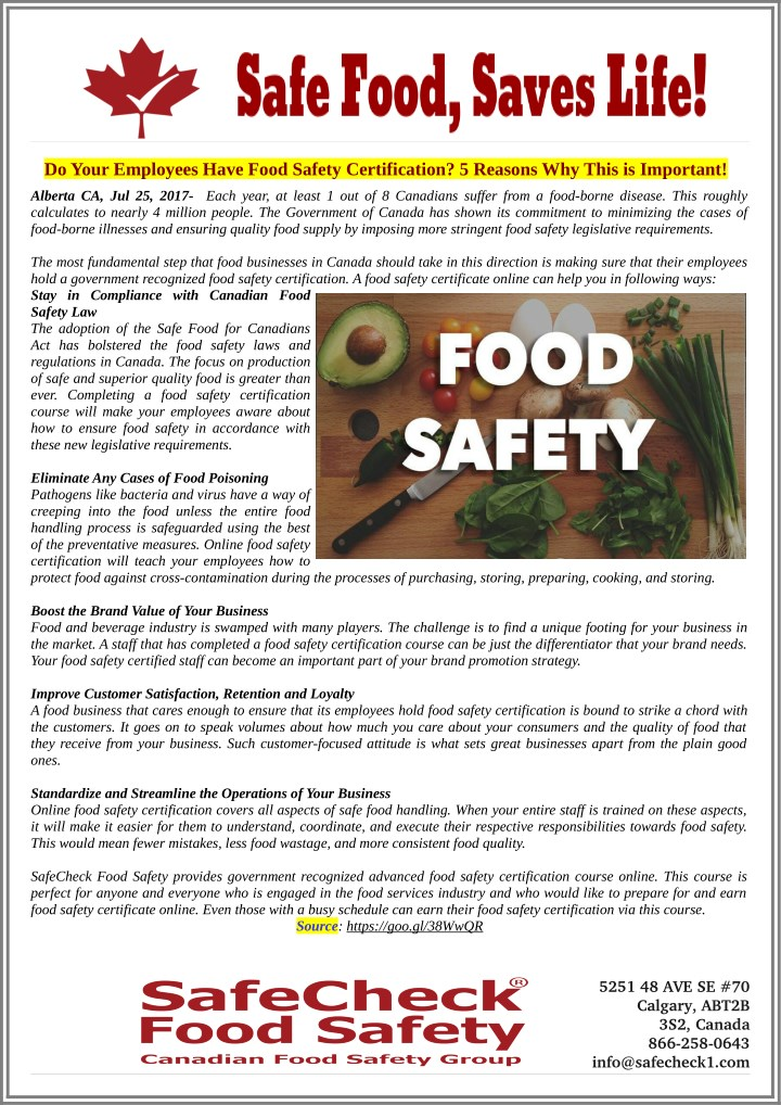Ppt Do Your Employees Have Food Safety Certification 5 Reasons