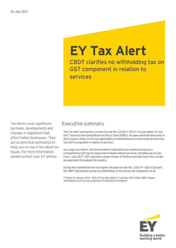 PPT - CBDT clarifies no withholding tax on GST component in