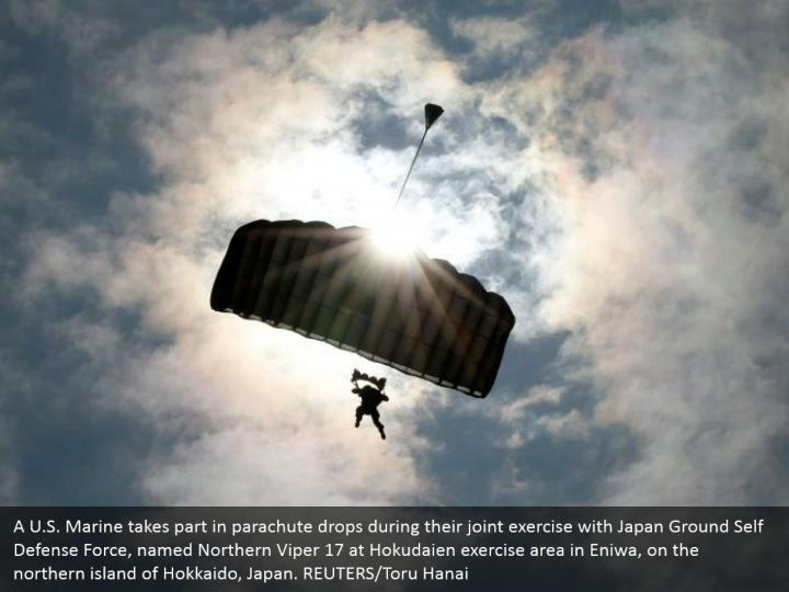 A u s marine takes part in parachute drops during