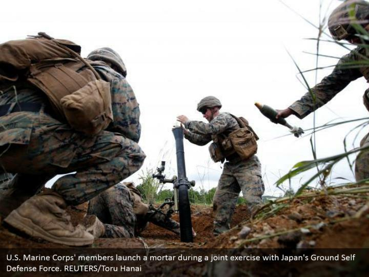 U.S. Marine Corps' members launch a mortar during a joint exercise with Japan's Ground Self Defense Force. REUTERS/Toru Hanai