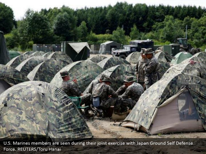 U.S. Marines members are seen during their joint exercise with Japan Ground Self Defense Force. REUTERS/Toru Hanai