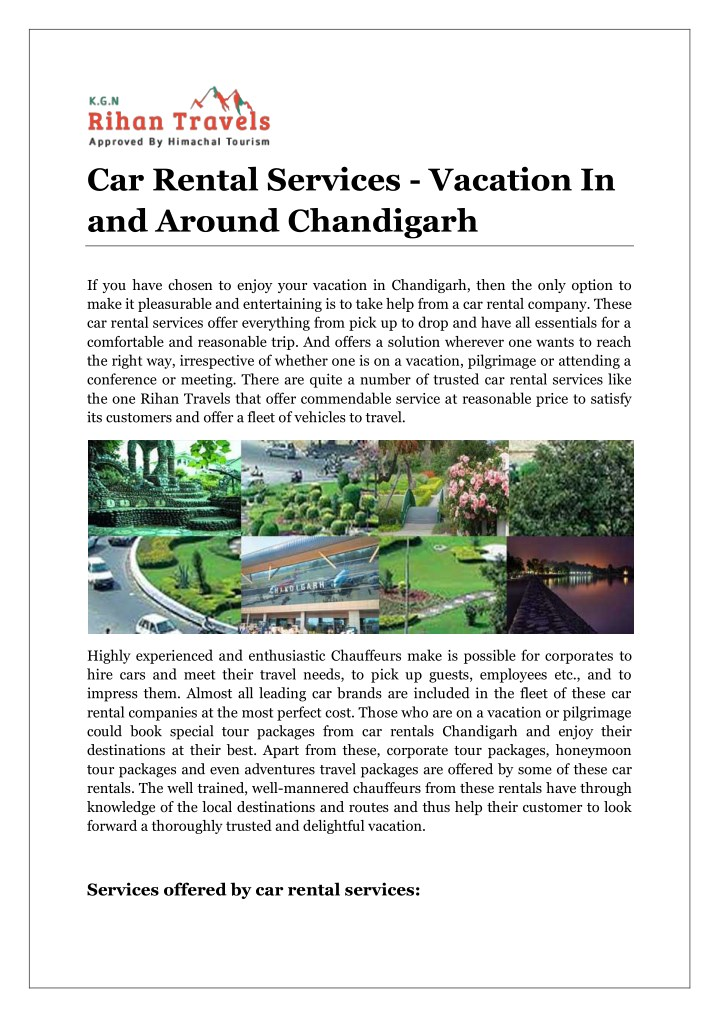 car rental services vacation in and around n.