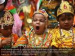 school children dressed as hindu lord krishna