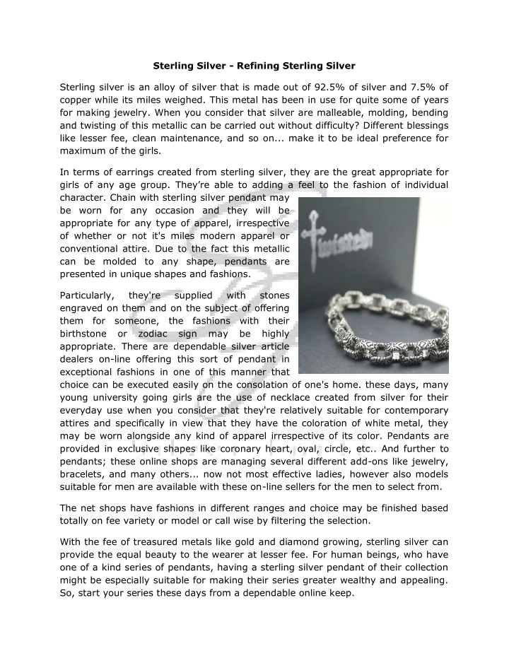 ppt sterling silver refining sterling silver powerpoint