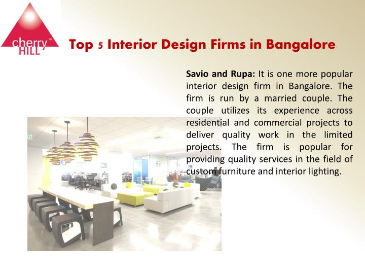 Ppt the top interior design firms in bangalore for Top commercial interior design firms
