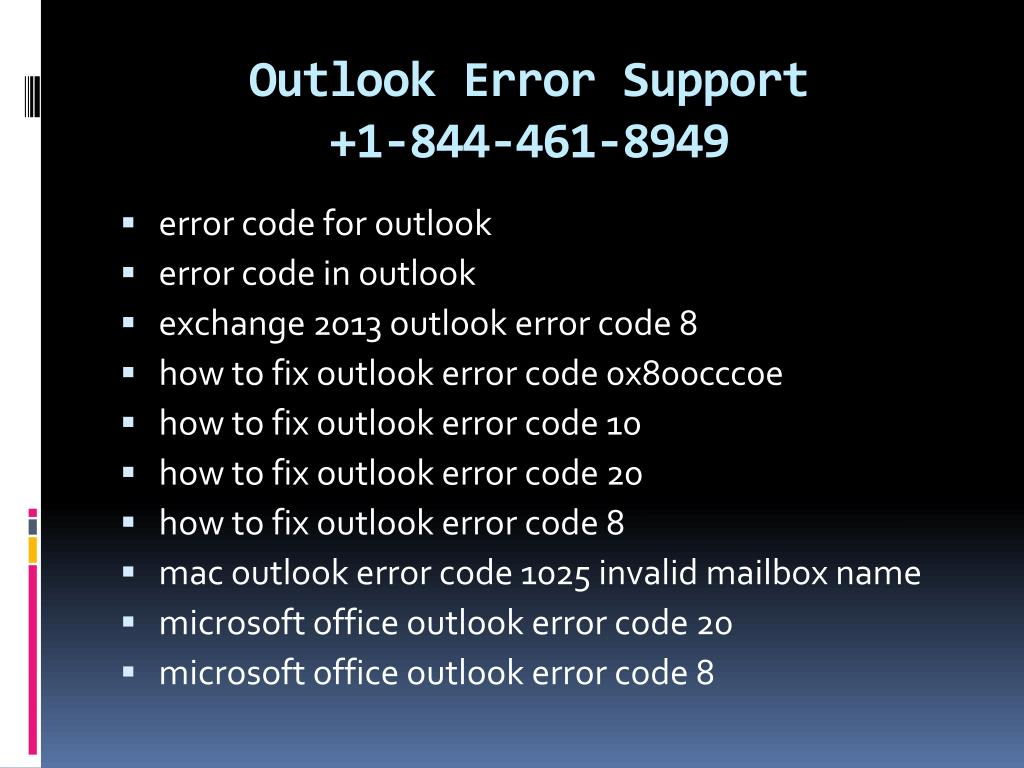PPT - Microsoft outlook error support 1 844-461-8949