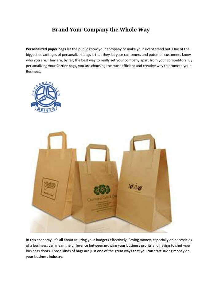 Brand Your Company The Whole Way Personalized Paper Bags