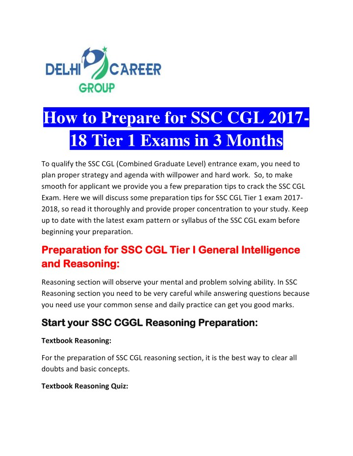 how to prepare for ssc cgl 2017 18 tier 1 exams n.
