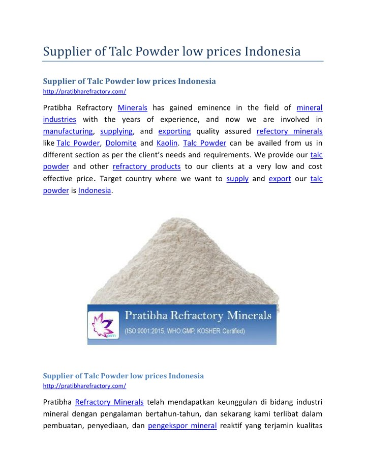 supplier of talc powder low prices indonesia n.