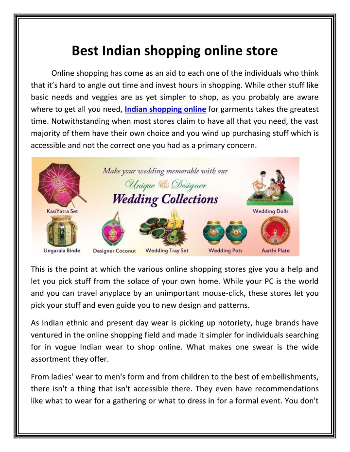 014ebc7357d PPT - Best Indian shopping online store PowerPoint Presentation - ID ...