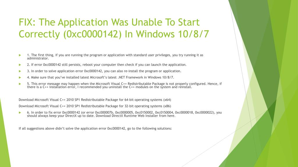 PPT - FIX: The Application Was Unable To Start Correctly