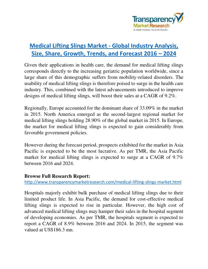 PPT - Medical Lifting Slings Market is expanding at a CAGR of 9 2