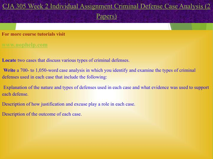 locate two cases that discuss various types of criminal defenses Locate two cases that discuss various types of criminal defenses receive facilitator approval of each case write a 700- to 1,050-word case analysis in which you identify and examine the types of criminal defenses that were used.