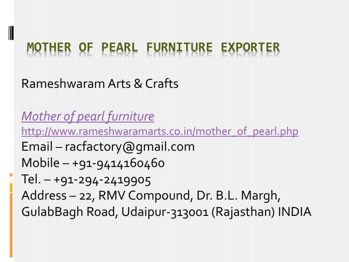 mother of pearl furniture exporter n.
