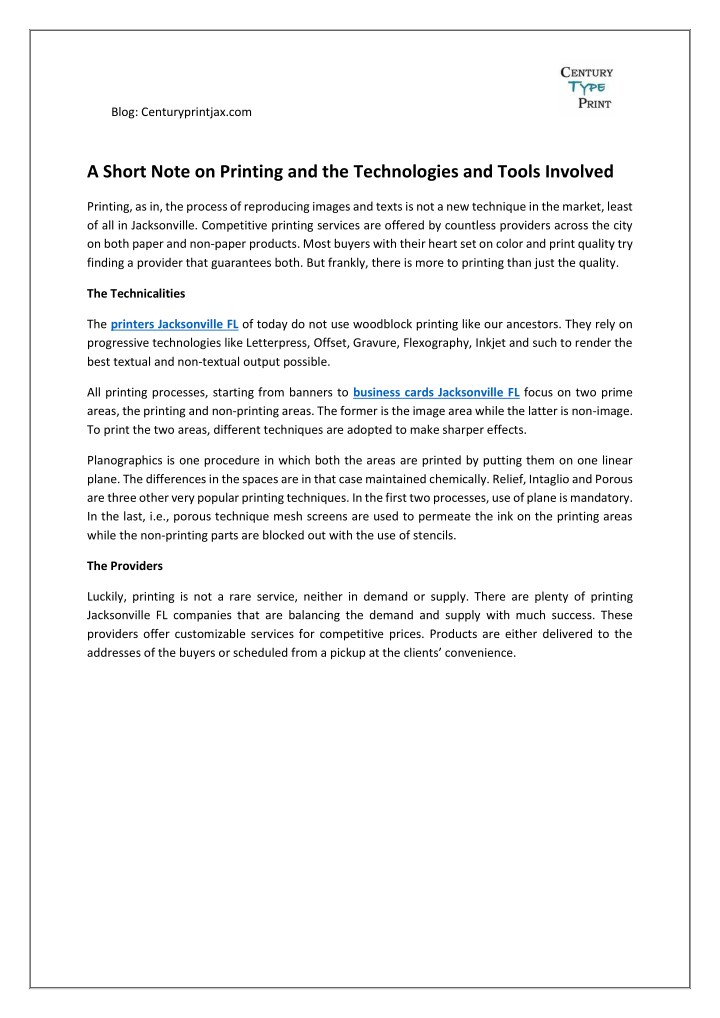 Ppt a short note on printing and the technologies and tools blog centuryprintjax a short note on printing reheart Images