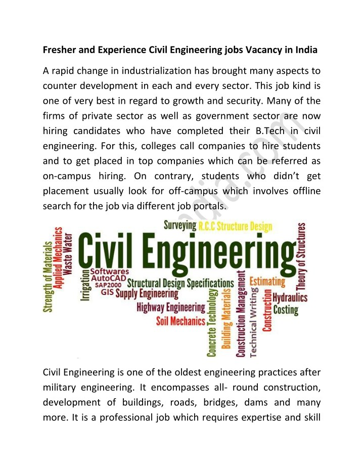 Ppt Fresher And Experience Civil Engineering Jobs Vacancy In India Powerpoint Presentation Id 7668045