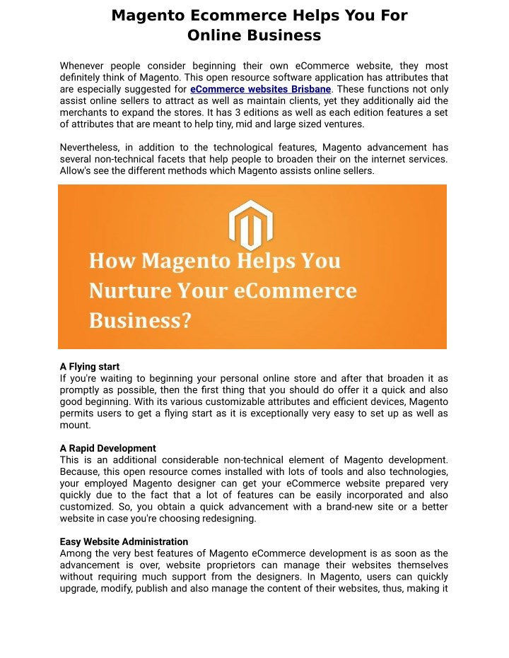 magento ecommerce helps you for online business n.
