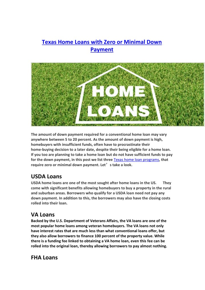 Ppt Texas Home Loans With Zero Or Minimal Down Payment