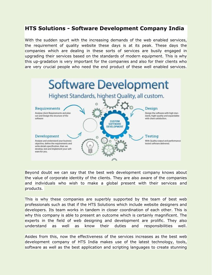 hts solutions software development company india n.