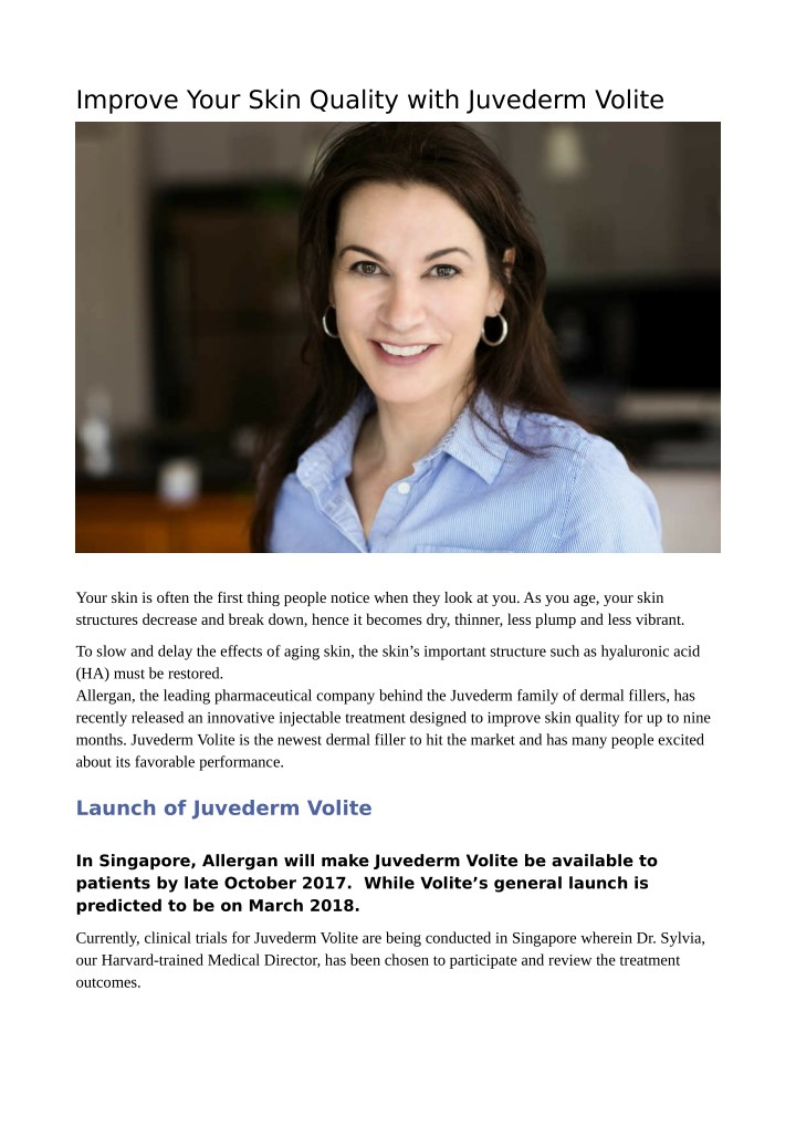 PPT - Improve Your Skin Quality with Juvederm Volite