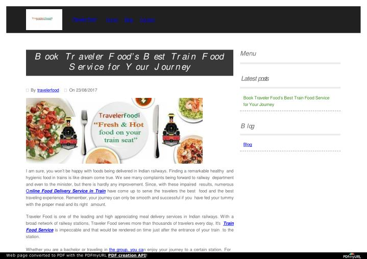 Your Fabulous Food for Train Journey is Available with Traveler Food