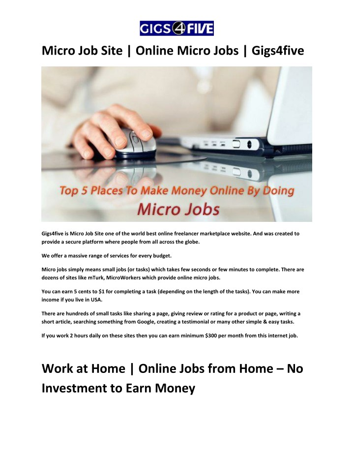 PPT - Micro Job Site | Online Micro Jobs | Gigs4five