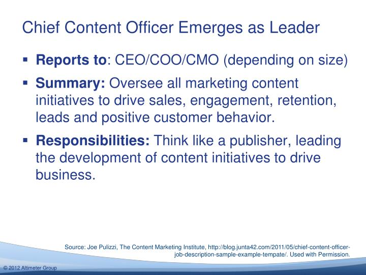 Chief Content Officer Emerges As Leader Marketing Department