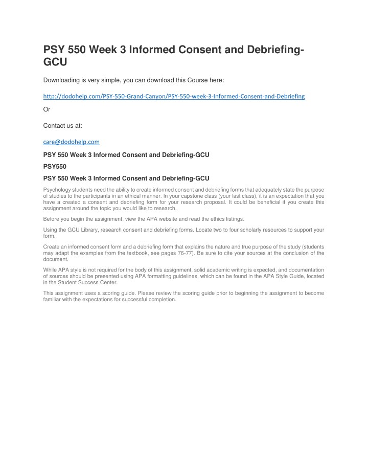 Ppt psy 550 week 3 informed consent and debriefing gcu powerpoint psy 550 week 3 informed consent and debriefing maxwellsz