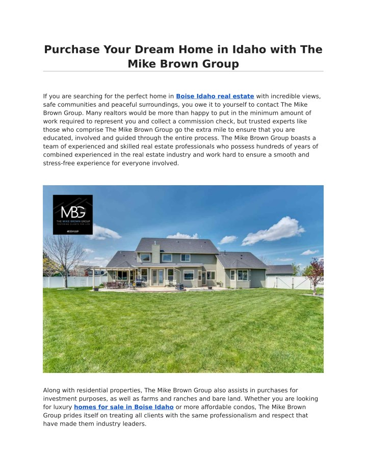 PPT - Purchase Your Dream Home in Idaho with The Mike Brown