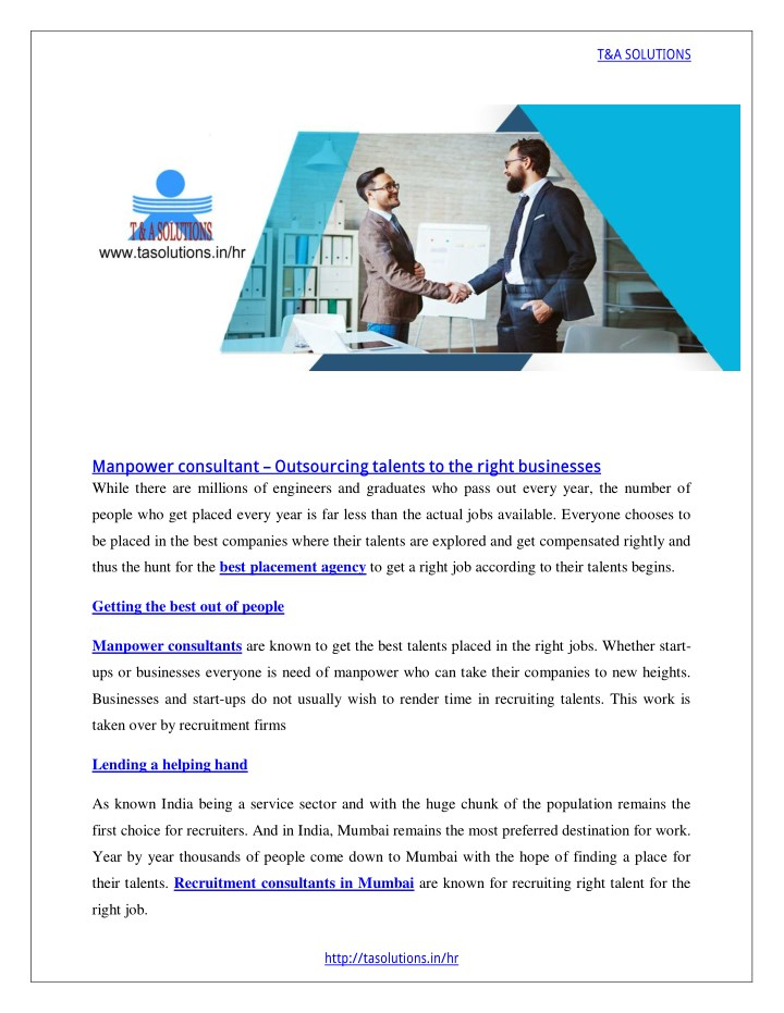 PPT - Manpower consultant – Outsourcing talents to the right