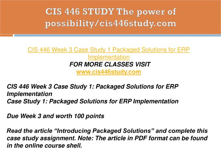 Study Points To Possibility Of >> Ppt Cis 446 Study The Power Of Possibility Cis446study Com