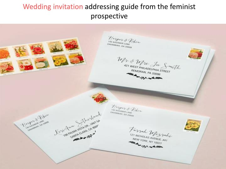 wedding invitation addressing guide from the feminist prospective n.