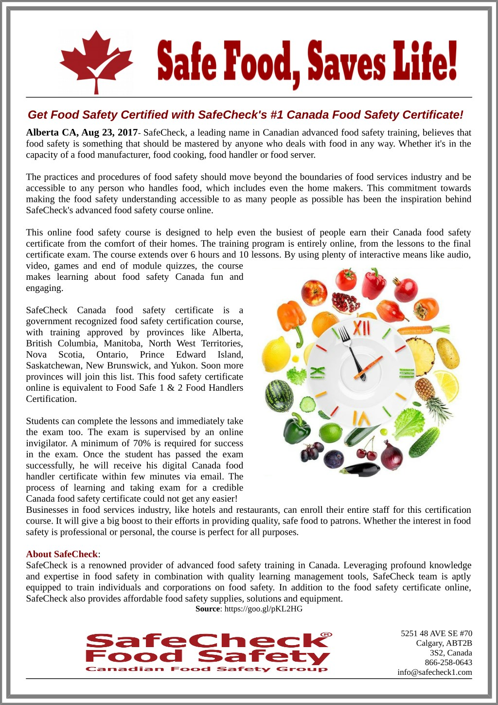 Ppt Get Food Safety Certified With Safechecks 1 Canada Food