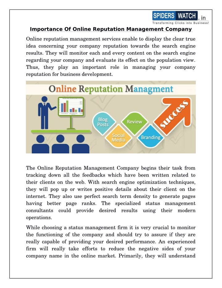 importance of online reputation management company n.