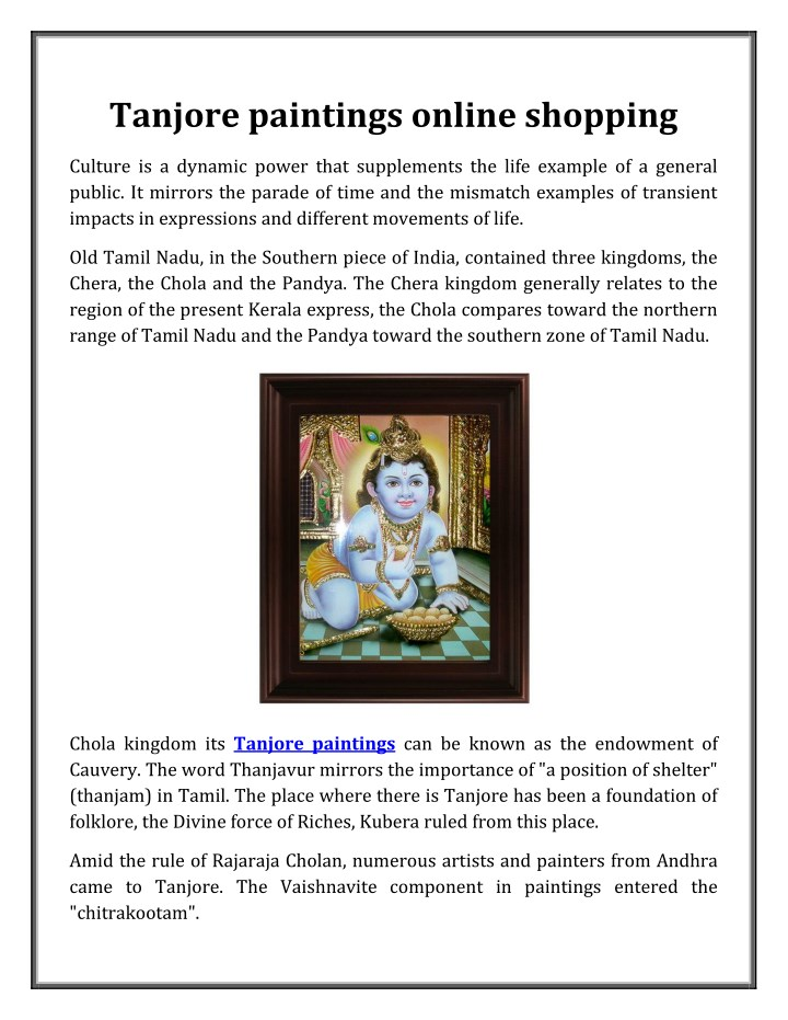 tanjore paintings online shopping n.