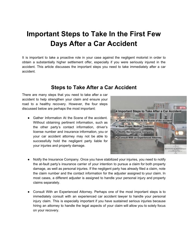 PPT - Important Steps to Take In the First Few Days After a