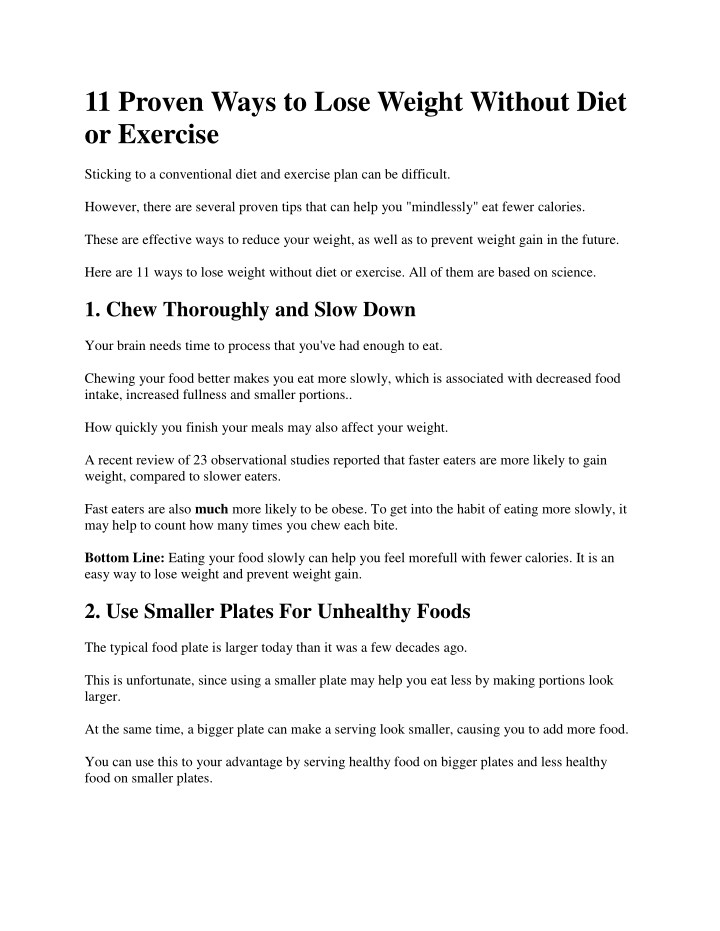 Ppt 11 Proven Ways To Lose Weight Without Diet Or Exercise Powerpoint Presentation Id 7676468