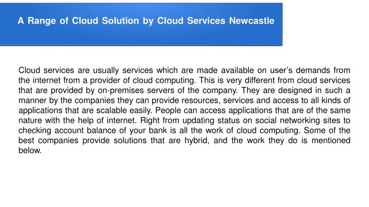 a range of cloud solution by cloud services n.