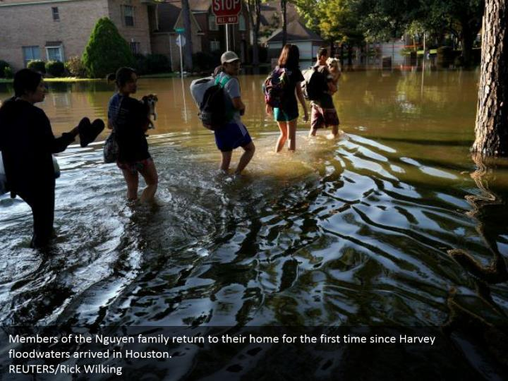 Members of the nguyen family return to their home