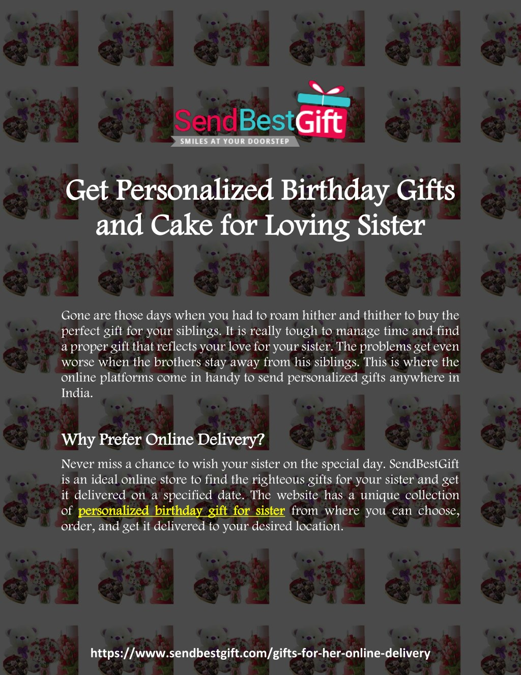 Get Personalized Birthday Gifts And Cake For Loving Sister
