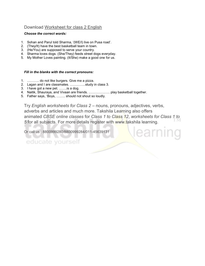 Ppt Cbse Class 2 English Practice Worksheet Pronouns Powerpoint