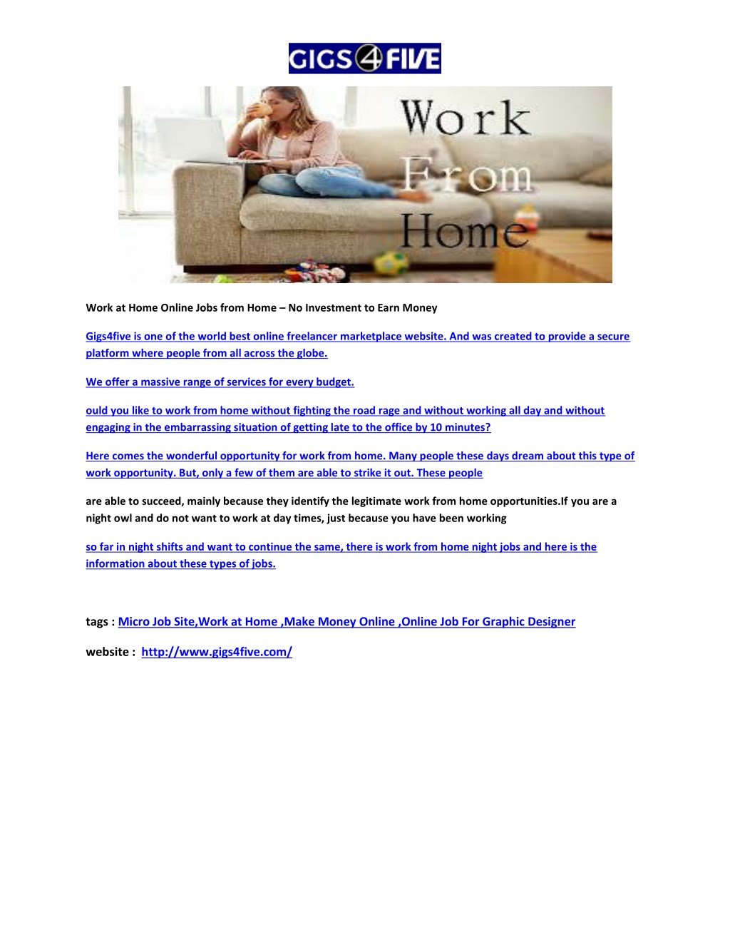 PPT - Work at Home | Online Jobs from Home – No Investment
