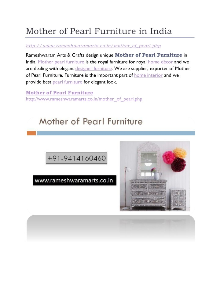 mother of pearl furniture in india n.