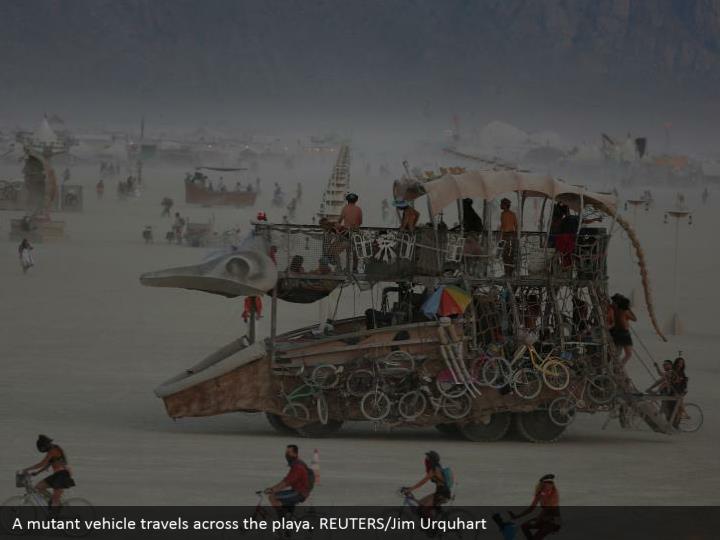 A mutant vehicle travels across the playa. REUTERS/Jim Urquhart